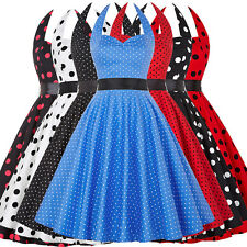 Women Halter Dress Polka Dot Swing Vintage Dresses Prom Party Plus Size Cocktail