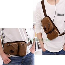 Men's Canvas Travel Hiking Cell Phone Belt Hip Fanny Pack Waist Sling Chest Bag