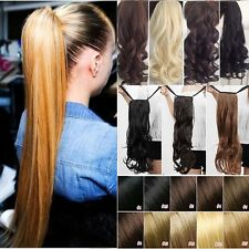 US 100% Real New Clip In human Hair Extension Pony Tail Wrap Around Ponytail DF3