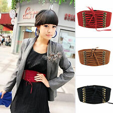 New Womens Strap Buckle Cinch Corset Stretch Skinny Elastic Waistband Waist Belt