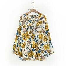 Womens Casual Long Sleeve Floral Print V-neck Chiffon T-shirt Loose Blouse Tops