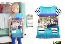 Mini Boden girls cotton jersey St Ives harbour print dress tunic NEW blue