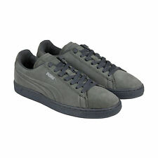 Puma Suede Emboss Splatter Mens Grey Suede Lace Up Sneakers Shoes