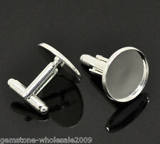 Wholesale Lots Silver Plated Cabochon Setting Cuff Links 26x20mm(Fit 18mm)