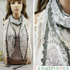 100% Cotton Stitching Floral Print Thin Long Scarf Shawl Lace Trim Tassel Retro