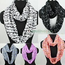Fashion Dot Striped Print Soft Infinity Wrinkle 2Loop Cowl Eternity Circle Scarf