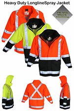 Hi Vis Long Line Spray Safety Work Wear 3M Reflective Tape Waterproof Jacket Men