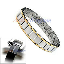 ACCENTS KINGDOM MENS 2 TONE MAGNETIC HEALTH TITANIUM GOLF BRACELET T20