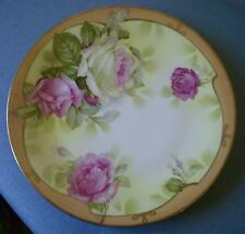 "Antique Royal Rudolstadt (B) Prussia Pink Roses Gold Trim 8.5"" Collectible Plate"