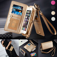 Removable Real Leather Shoulder Bag Trifold Wallet Card Case For iPhone 6s Plus