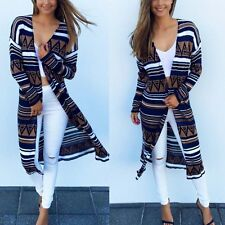 Women Boho Geometric Long Cardigan Tops Long Sleeve Blouse Beach Bikini Cover Up