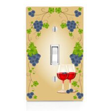 Light Switch Plate Cover Grape leaves and Red Wine Wall Plate Vino Winery, home