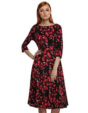 Vintage Lady Women new O-neck 3/4 Sleeve mid-calf Floral Dress sundress BSTY