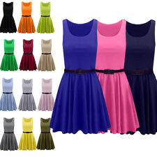 Womens Belted Sleeveless Flared Franki Short Party Ladies Skater Dress Tops 8-18