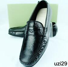 NIB Calzoleria Toscana Hand Crafted Italian Driving Moccasin Black Shoes for Men