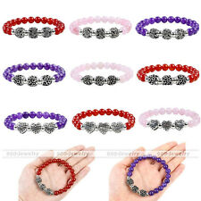 Lucky Natural Crystal Stone 3 Silvery Family Heart Flower Alloy Elastic Bracelet