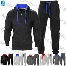 Mens Hooded Tracksuit Gym Contrast Jogging Full Top Fleece Bottoms Joggers Set