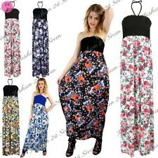 Womens Sheering Maxi Dress Ladies Printed Gathered Bandeau Tie UK-14 Long dress
