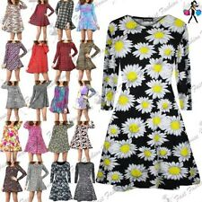 Womens Ladies Floral Animal Long Sleeve Aztec Printed Flared Skater Swing Dress