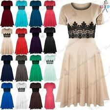 New Womens Skater Dress Ladies Midi Dress Short Sleeve Waist Lace Flared Franki