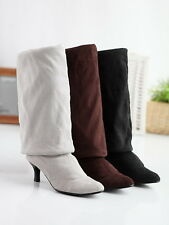 Fashion Free PP Womens Suede Kitten Heel Over Knee Boot Thigh Retro Oxford Shoes