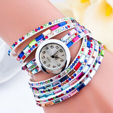 Fashion Woman Multilayers Colorful Beads Crystal Quartz Bracelet Wrist Watch New