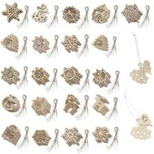 10pcs Snowflake Wooden Shapes Christmas Ornaments X-mas Tree Hanging Decoration