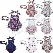 Toddler Baby Girls Floral Playsuit Romper Jumpsiut Bodysuit Outfits Headband Set