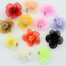 50pcs Satin Organza Flower Bows Appliques Craft Embellish Wedding U Pick Color
