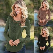 Fashion Women Long Sleeve Tops Patchwork Hollow Solid Slim Basic Casual Blouse