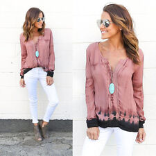 Women Sexy Tie-dye Printed Stylish Long Sleeve Tops Ladies Casual Blouse Shirts