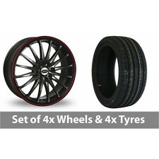 """4 x 15"""" Team Dynamics Jet RS Black Red Alloy Wheel Rims and Tyres -  205/60/15"""