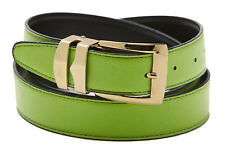 Reversible Belt Bonded Leather with Removable Gold-Tone Buckle LIME GREEN/ Black