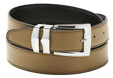 Reversible Belt Bonded Leather with Removable Silver-Tone Buckle TAUPE/ Black