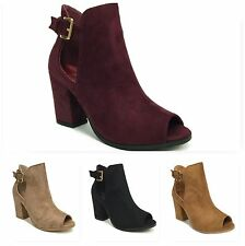New Women Faux Suede Ankle Heel Peep Toe Bootie Fashion Dress Boots Shoes Connie