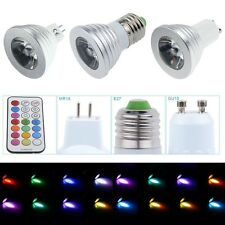 E27 MR16 GU10 16 Color Changing RGB LED Light Bulb Change Lamp 3W 4W + IR Remote