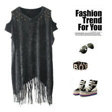 Rock Punk Stud Rivet Sleeve Tee T Shirt Top Emo Grunge Biker Gothic Tassel Faded