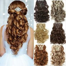AU Full head clip in Hair Extensions Curly Thick Long Straight as remy hair f88