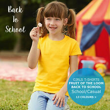 Fruit of the Loom Kids Girls Childrens Back To School Plain T-Shirt Tee FOTL Top