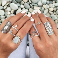 4 Styles Carved Chunky Vintage Silver Ethnic Wide Women's Band Ring Magical