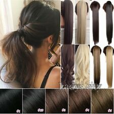 Long Wrap Around Ponytail Clip in Hair Extensions Natural Real As Human Hair Tis