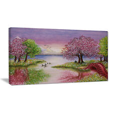 Design Art Romantic Lake in Pink and Green Painting Print on Wrapped Canvas