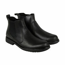 CAT Nolan Mens Black Leather Casual Dress Slip On Boots Shoes