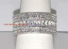 Wedding Band Emerald Cut And Princess CZ .925 Silver Eternity Ring Size 9