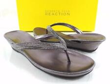 Women's Kenneth Cole Reaction GREAT TIME Thong Wedge Flip Flop Sandals Pewter