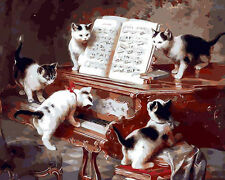 Cute Black White Cats On Piano Hand Painted Design Needlepoint Canvas