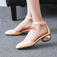 2016 Womens Chunky Heels Round Toe Patent Leather Mary Janes Shoes Ladies Pumps