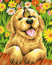 Dog Watching Butterfly Needlepoint Canvas