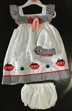 3 piece Baby Girl White Cotton Dress with Boats detail and matching Briefs & Hat