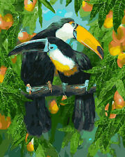 Pair of Toucans On Tree Branch Needlepoint Canvas
